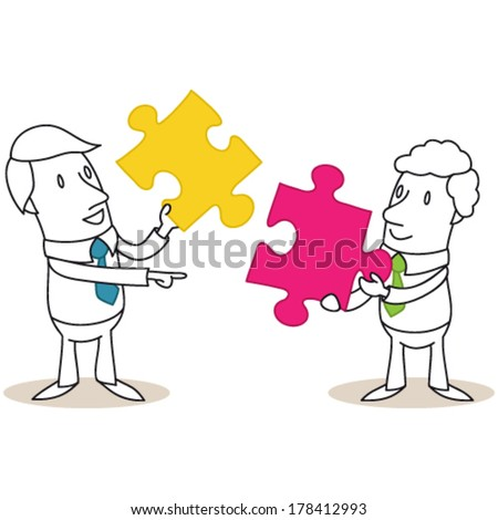 Vector illustration of monochrome cartoon characters: Two businessmen trying to put together two jigsaw pieces.