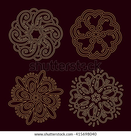 Vector illustration of monochrome round collection of lacy golden mandala on dark background. Hand drawn flat thin line art design for card, cloth, fabric, invitation, book, serviette, wedding, logo