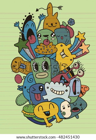 Vector illustration of Monsters and cute alien friendly, cool and cute hand drawn monsters collection
