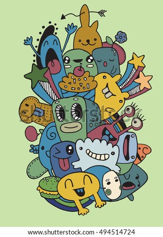 Vector illustration of Monsters and cute alien friendly, cool and cute hand-drawn monsters collection