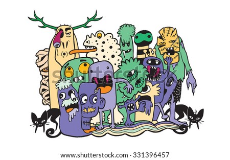 Vector illustration of Monsters and cute alien friendly, hand-drawn monsters group