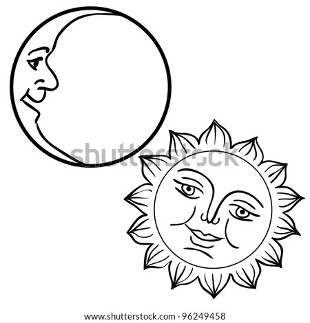 Vector illustration of Moon and Sun with faces. Rasterized version also available in portfolio. - stock vector