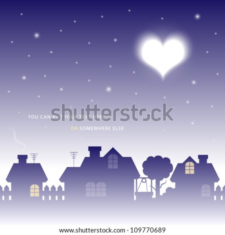 vector illustration of moon in valentine heart shape over a village