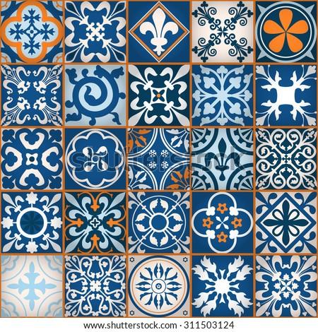Vector tiles moroccan tiles seamless pattern stock vector for Moroccan style wallpaper