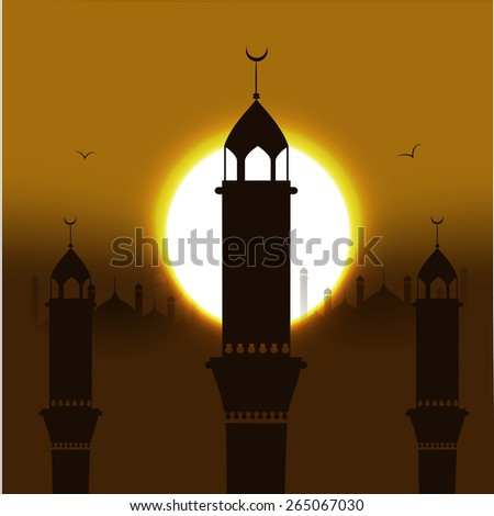 Vector Illustration of Mosque. May Generosity Bless You During The Holy Month. - stock vector