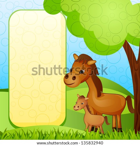 vector illustration of mother and baby horse - stock vector