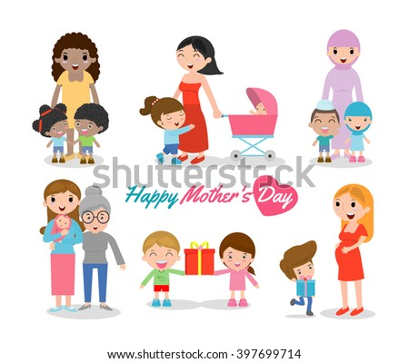 Vector illustration of Mother and Child isolated on white background, Happy Mothers Day, beautiful women and child, happy mothers day, Beautiful mother with her kid. - stock vector