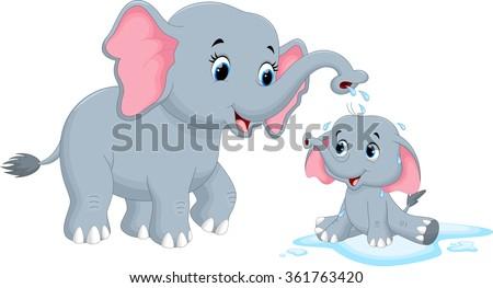 Vector illustration of mother elephants bathing her child - stock vector