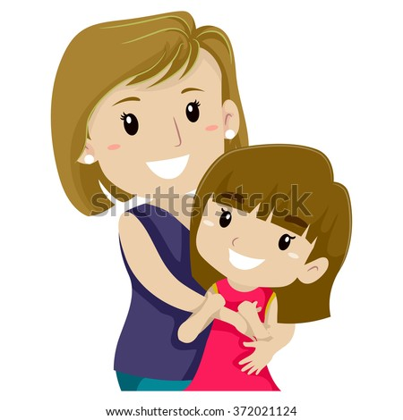 Vector Illustration of Mother Hugging her Daughter - stock vector