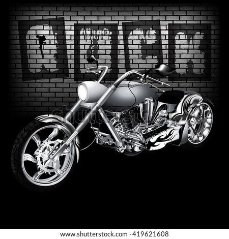 Vector illustration of motorbike on the background of a brick wall with the word ROCK. Image in black and white, perfectly aligned with any image on a black background, there is a place for text. - stock vector