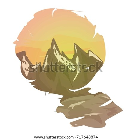 Vector illustration of Mountain landscape at sunset n a frame