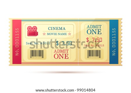 vector illustration of movie ticket against white background - stock vector