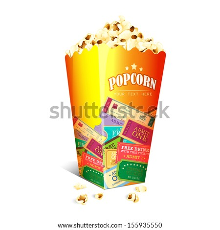 vector illustration of Movie Ticket printed on Popcorn box - stock vector