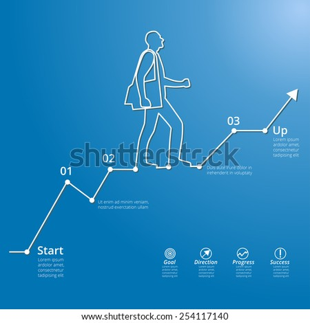 Vector illustration of moving up silhouette of businessman, symbol of financial and social success, stairway to progress, infographic elements, graph of growth - stock vector