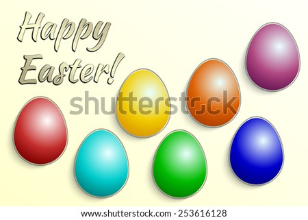Vector illustration of multicolor Eastern eggs collection greeting card template - stock vector