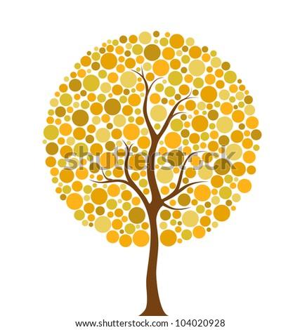 Vector illustration of multicolored autumn circles tree - stock vector