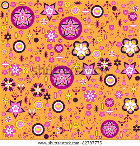 Vector illustration of multicolored funky flowers and leaves retro pattern - stock vector