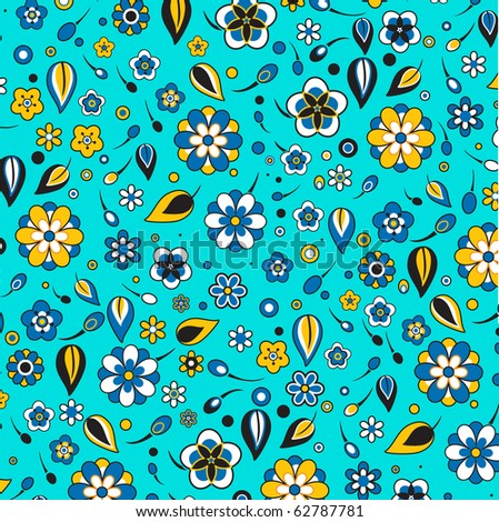 Vector illustration of multicolored funky flowers and leaves retro pattern on the blue background - stock vector