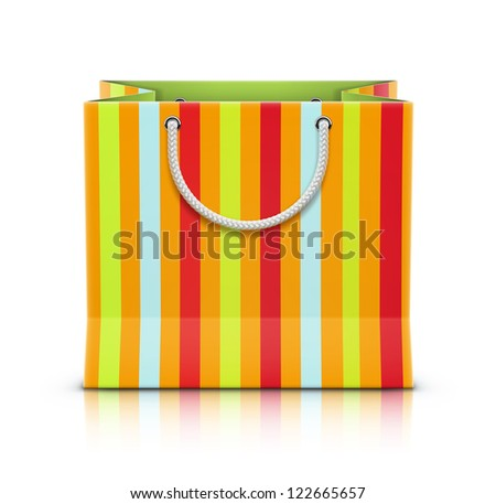 Vector illustration of multicolored paper shopping bag isolated on white background.