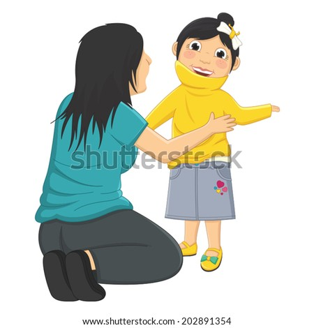 Vector Illustration Of Mum Helping Daughter Wearing Her Clothes  - stock vector