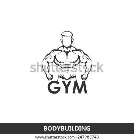 Vector illustration of muscled man body silhouette. fitness or bodybuilding gym logo concept - stock vector