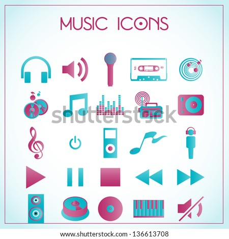 Vector illustration of music icons on white-blue background - stock vector