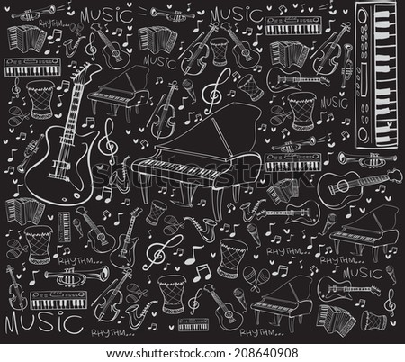 Vector illustration of music instruments in doodle style, white on black - stock vector