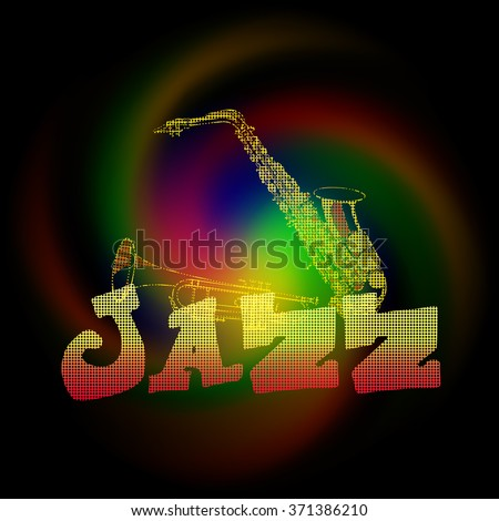 Vector illustration of music jazz saxophone and trumpet in the texture performance of the lines at right angles. - stock vector