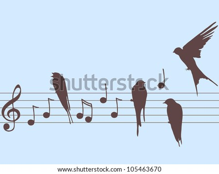 Vector illustration of music notes with birds - stock vector