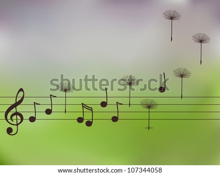 Vector illustration of music notes with dandelion seeds - stock vector