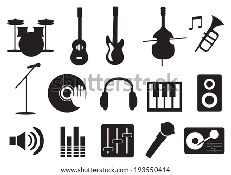 Vector illustration of music related icon set - stock vector