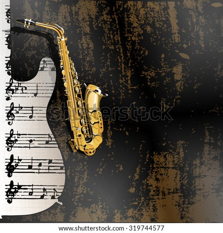 Vector illustration of musical background in grunge style. Metal rusty background with a cutout from a guitar with a gold saxophone and sheet music notation in the background.