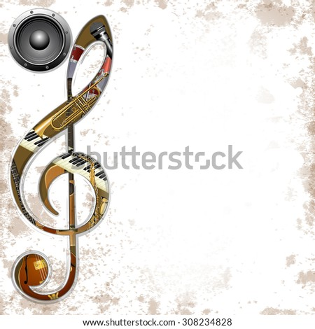 vector illustration of musical background instruments in the hole treble Clef trumpet, saxophone, piano keys, jazz guitar, acoustic guitar and an audio speaker - stock vector