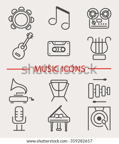 Vector illustration of musical instruments. Set of music icons: tambourine, notes, recorder, guitar, cassette, lyre, gramophone, microphone, xylophone, drum, piano, gong. Line style design.