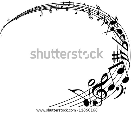 vector illustration of musical notes background - stock vector