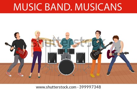 Vector illustration of musicians music band. Group of young rock musicians. Music band isolated, Music band collection, Music band concept, Music band together, Music band playing. - stock vector