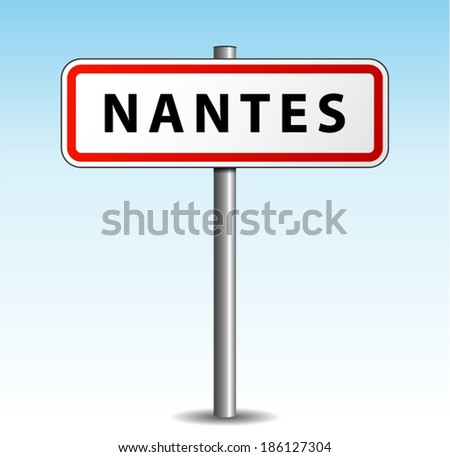 Vector illustration of nantes signpost on sky background