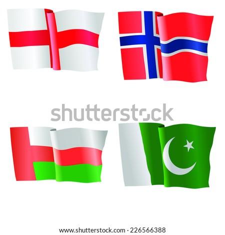 vector illustration of national flag of Northern Ireland,, Norway, Oman, Pakistan  - stock vector