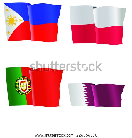 vector illustration of national flag of Philippines,, Poland, Portugal, Qatar  - stock vector