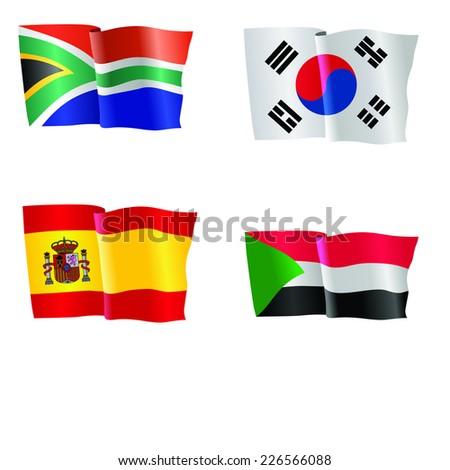 vector illustration of national flag of South Africa, South Korea, Spain, Sudan  - stock vector