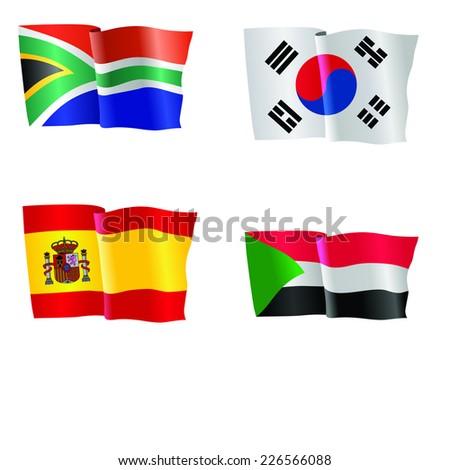 vector illustration of national flag of South Africa, South Korea, Spain, Sudan  - stock vector