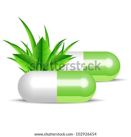 Vector illustration of natural pills - stock vector