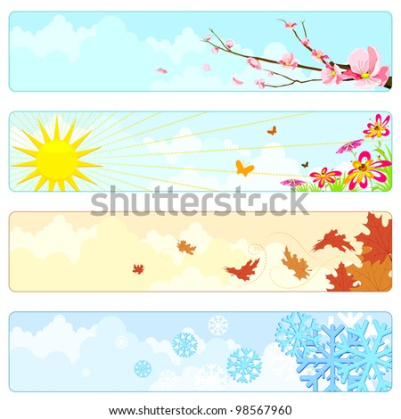 vector illustration of nature showing four season - stock vector