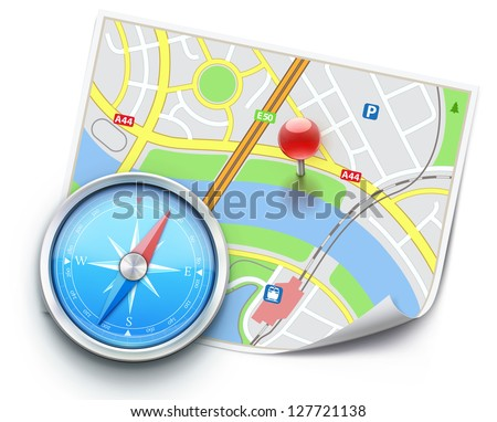 Vector illustration of navigation concept with detailed blue compass and city map - stock vector