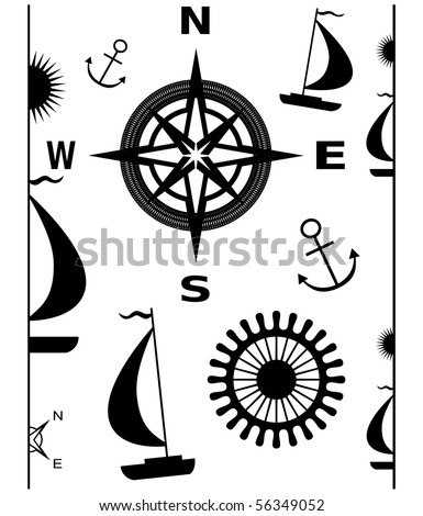 Vector illustration of navigation elements: borders, anchor, compass rose, sailboats, helm - stock vector