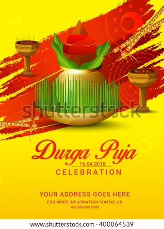 Vector illustration navratri celebration invitation card stock vector illustration of navratri celebration or invitation card of durga puja celebration stopboris Images