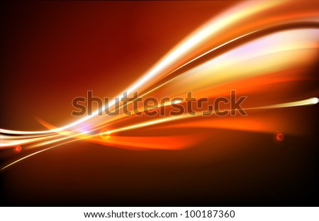 Vector illustration of neon abstract background made of blurred magic orange light curved lines - stock vector