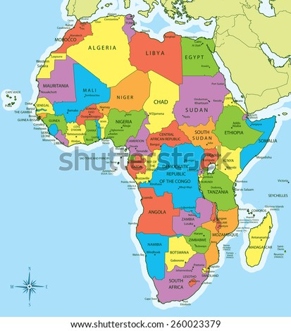 Vector Illustration New 2011 Africa Map Stock Vector 260023379