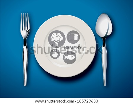 Vector illustration of new my plate replaces food pyramid on blue black ground - stock vector