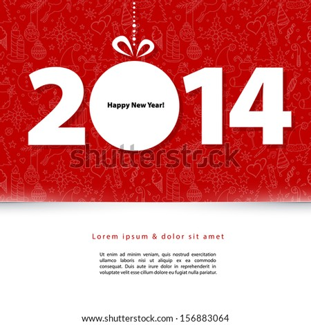 Vector illustration of 2014 New year - stock vector